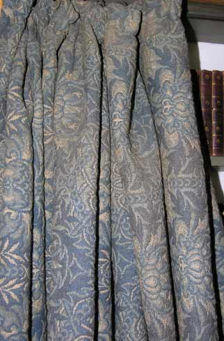 """Morris curtains at Owlpen in """"Honeycomb"""""""