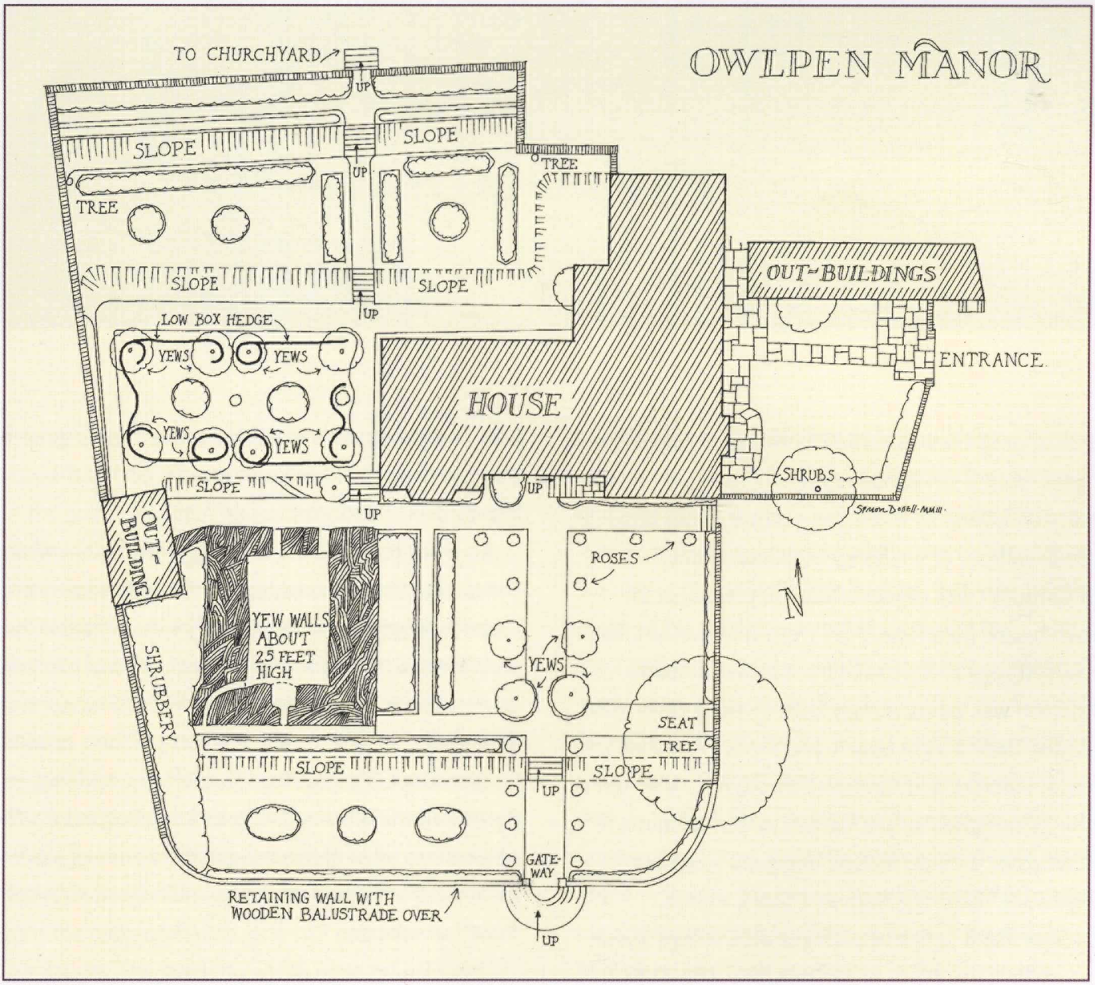 Plan of Stuart garden at Owlpen Manor, adapted from a drawing by Gertrude Jekyll