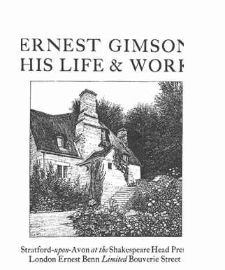 Title page to Gimson memorial volume,  prepared by his friends after his death