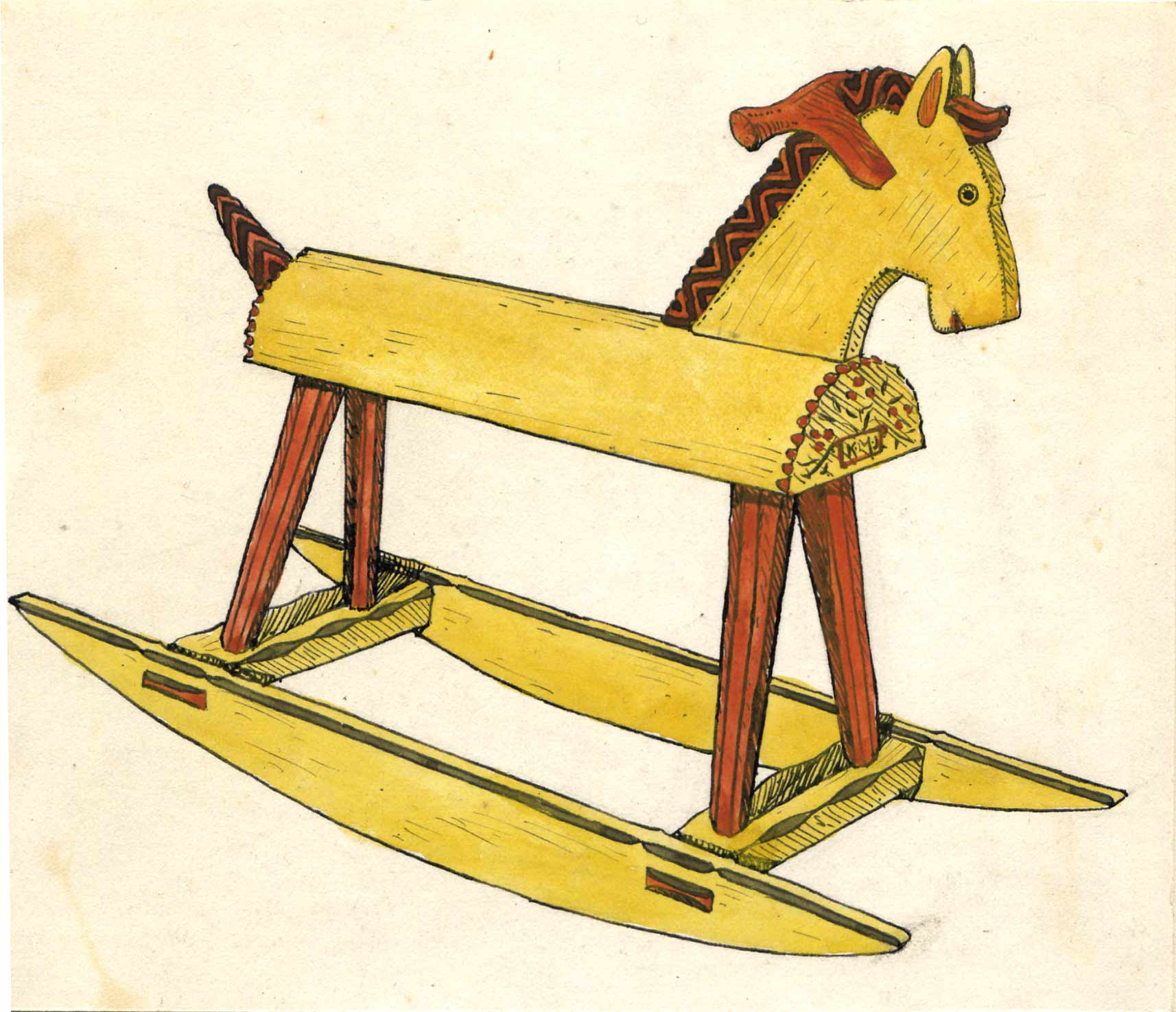 Child's rocking horse by Jewson, sketch at Owlpen