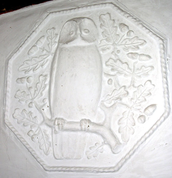 Plaster owl modelled by Jewson, in the Great Hall