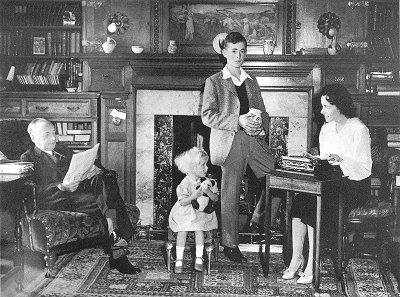 Geoffrey and his family, c. 1948. Children Anthea and John are in the centre, and Rosalie his wife, the Victorian biographer, is on the right.