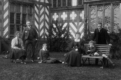 The family at Wightwick, about 1898. Left to Right: Marjorie, Theodore, Lionel, Flora, Alan, Geoffrey