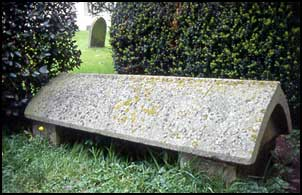 Morris's grave at Kelmscott churchyard, designed by Philip Webb