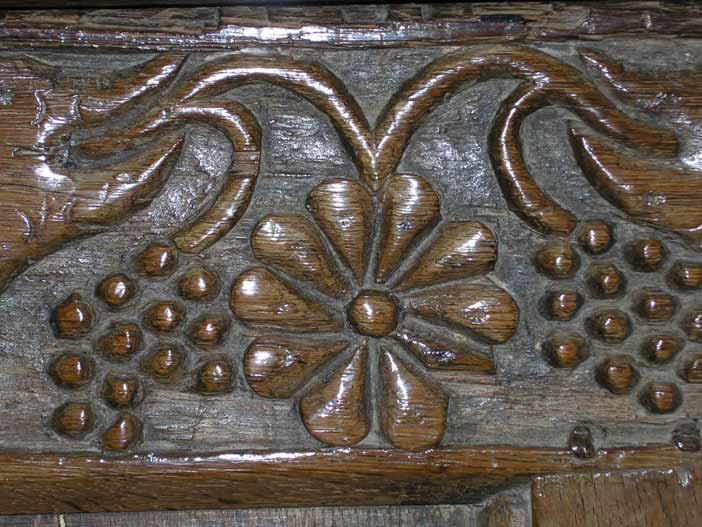 william morris furniture. Detail of carving to early