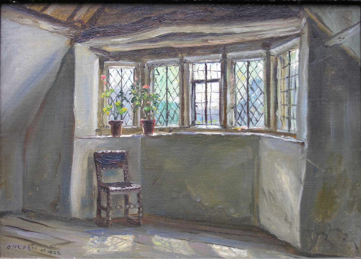 Painting of an attic room in the derelict manor, 1922, by Frank Moss Bennett. It is one of a series of ten paintings by him still at Owlpen.