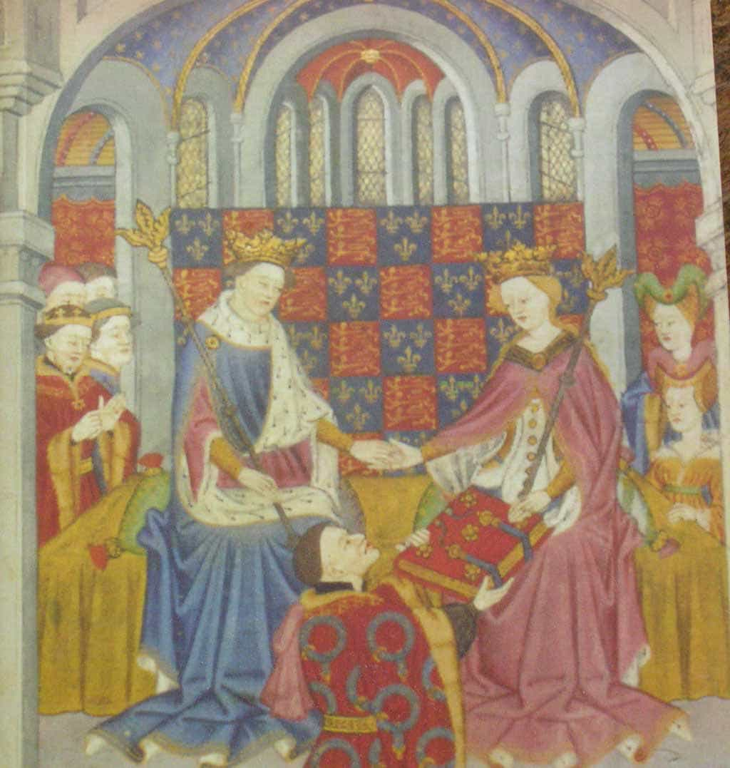 Margaret of Anjou with King Henry VI. She is reputed to have visited the Manor at the time of the Battle of Tewkesbury in 1471, and her ghost is said to haunt the upper rooms today.
