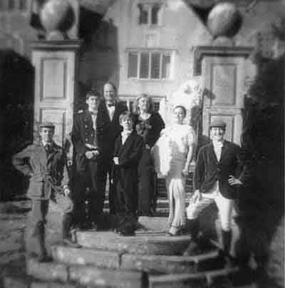 Marcus, Hugo, Nicholas, Fabian, Karin, Sarra and Benedict  on the steps of Owlpen