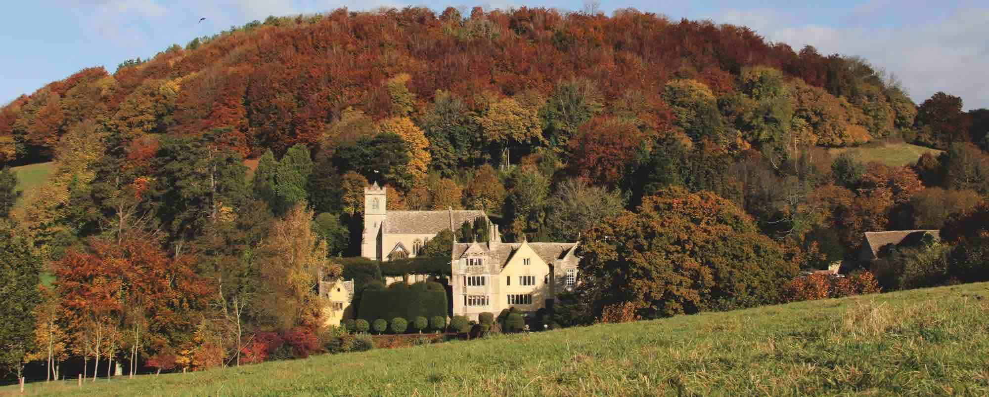 Owlpen Autumn south front