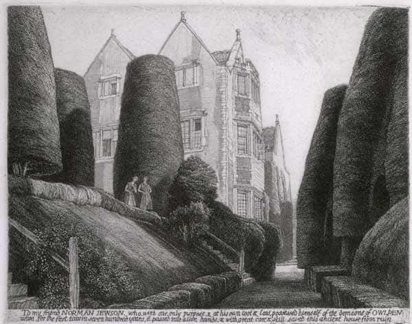 Owlpen Manor, etching by F.L. Griggs, 1930
